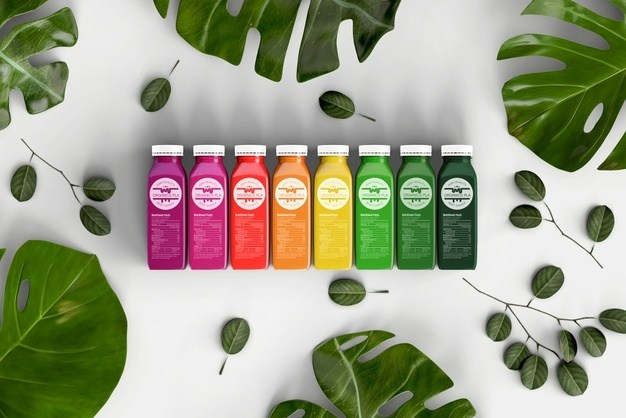 Top View Colorful Smoothies Free PSD Mock-up
