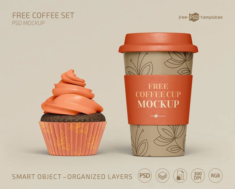 Free Coffee Set Mockups Template