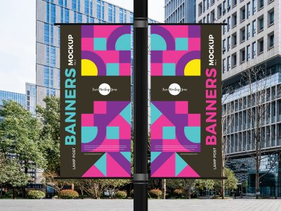 Free Lamp Post Banners Mockup
