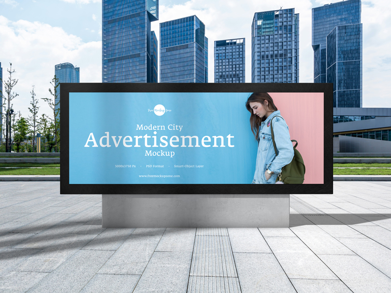 Free Modern City Advertisement Billboard Mockup