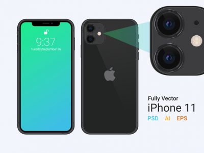 Free New iPhone 11 Vector Mockup