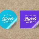 Free Textured Round & Rectangle Sticker Mockups