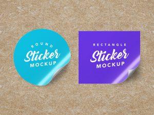 Free Textured Round & Rectangle Sticker Mockups