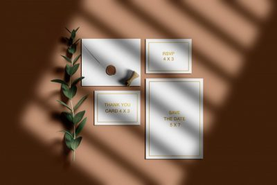 Free Wedding Invitation Suite Mockup