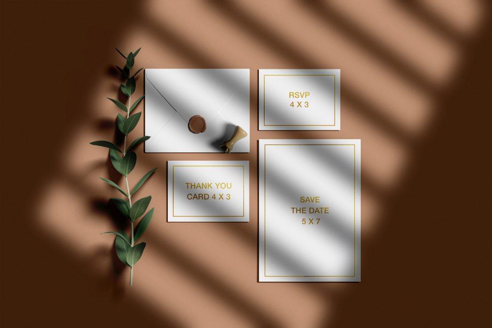 Free Wedding Invitation Suite Mockup