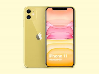 Free Yellow iPhone 11 Mockup