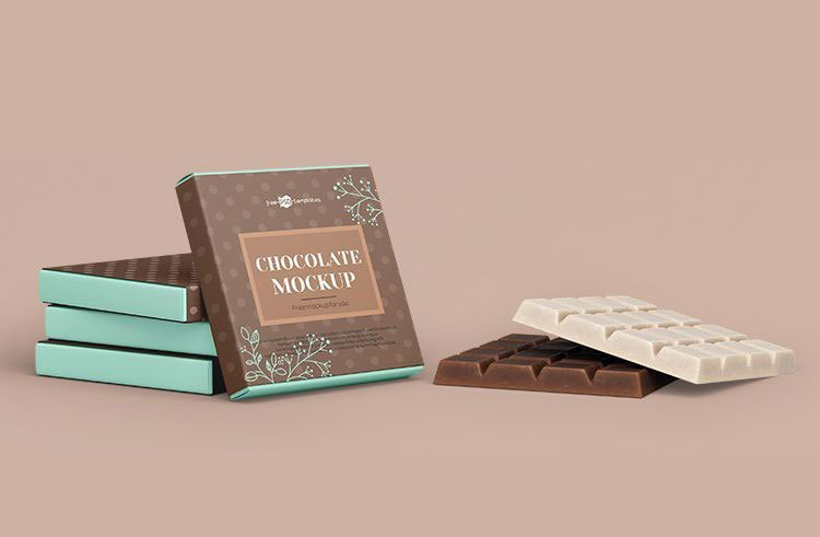 Square Chocolate Bar Snack & Box Packaging Mockup