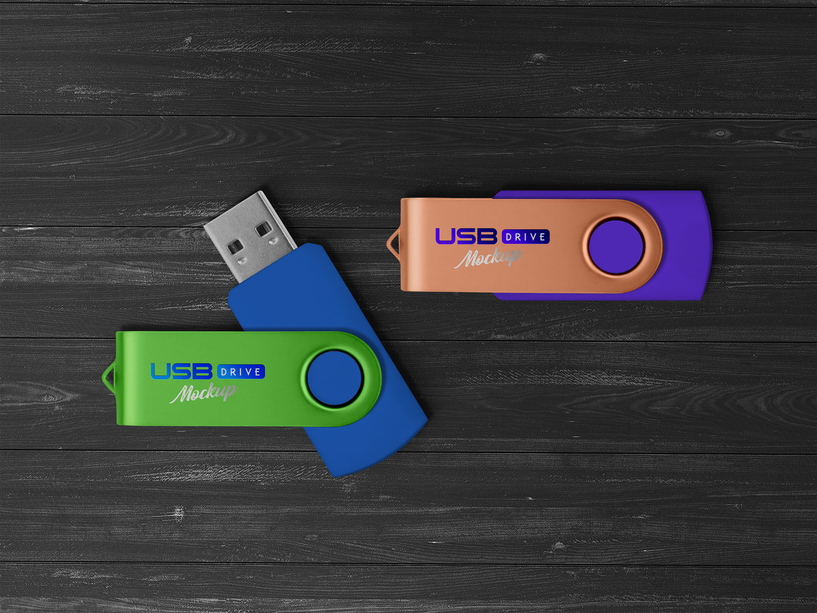 USB Flash / Pen Drive Memory Stick Free Mockup