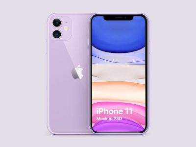 iPhone 11 Purple Free PSD Mockup