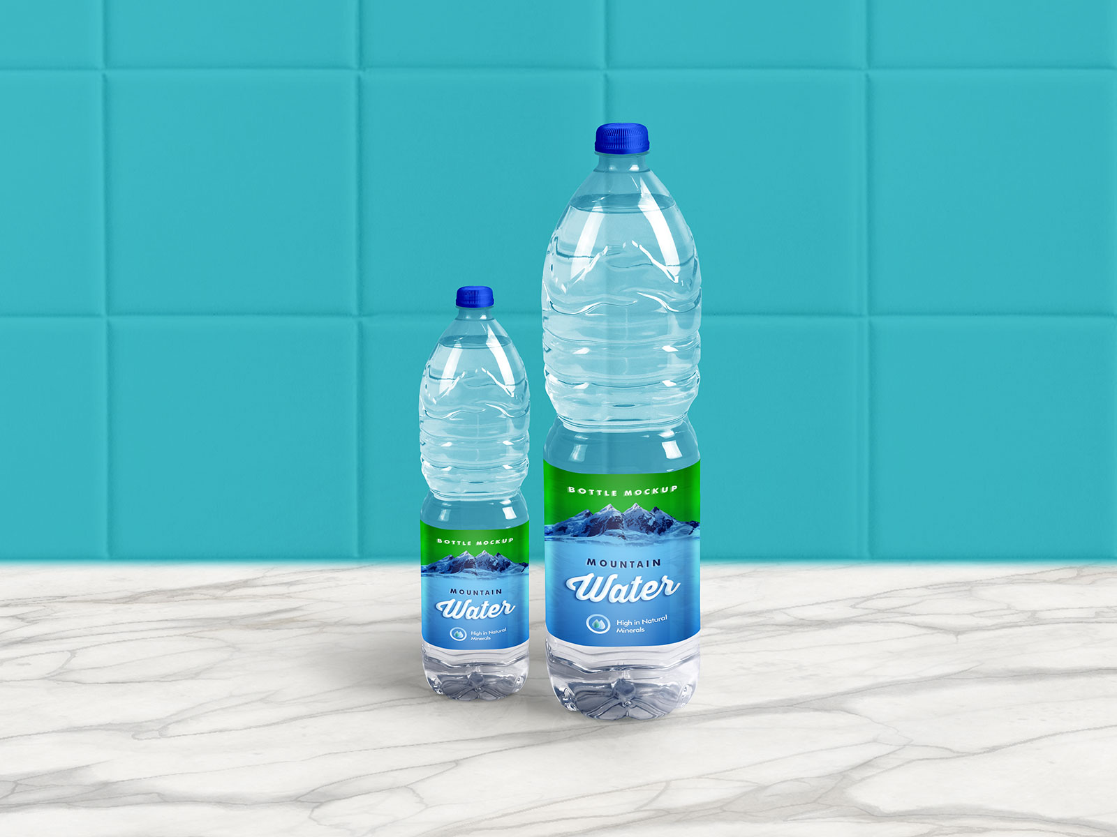 1 Liter Mineral / Drinking Water Bottle Free Mockup