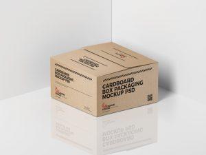 Cardboard Box Packaging Free PSD Mockup