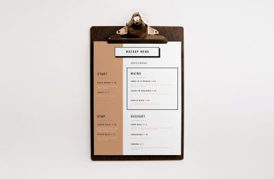 Clipboard Menu Free Mockup