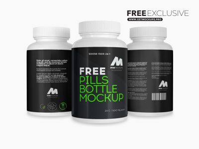 Free 3 Plastic Pills Bottles Mockup