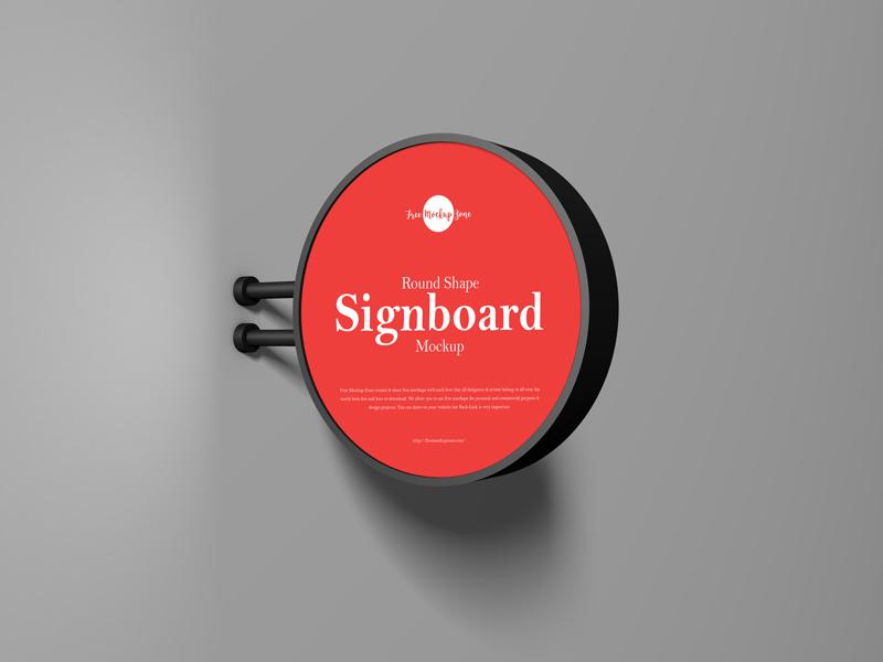 Free Round Shape Signboard Free Mockup