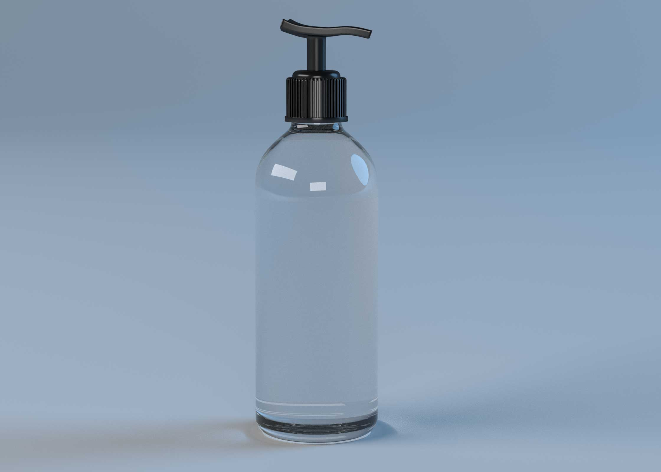 Free Transparent Hand Wash Bottle Mockup