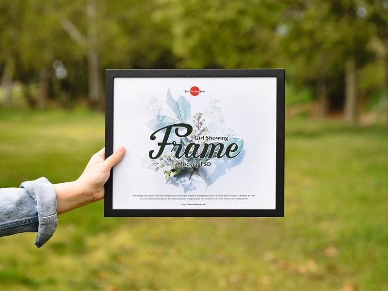 Girl Showing Frame Free PSD Mockup