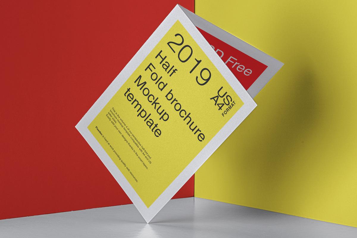 Half Fold Brochure Free PSD Mockup