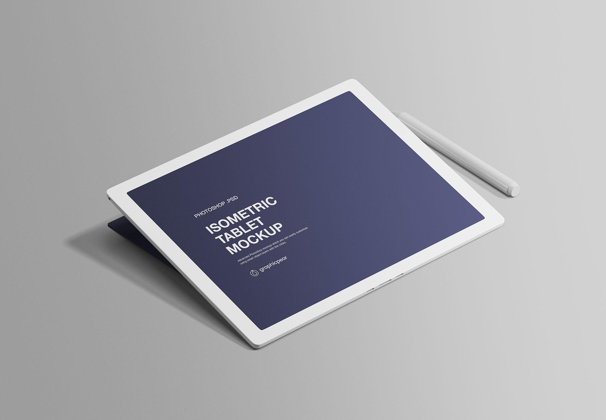 Isometric Tablet Free Mockup