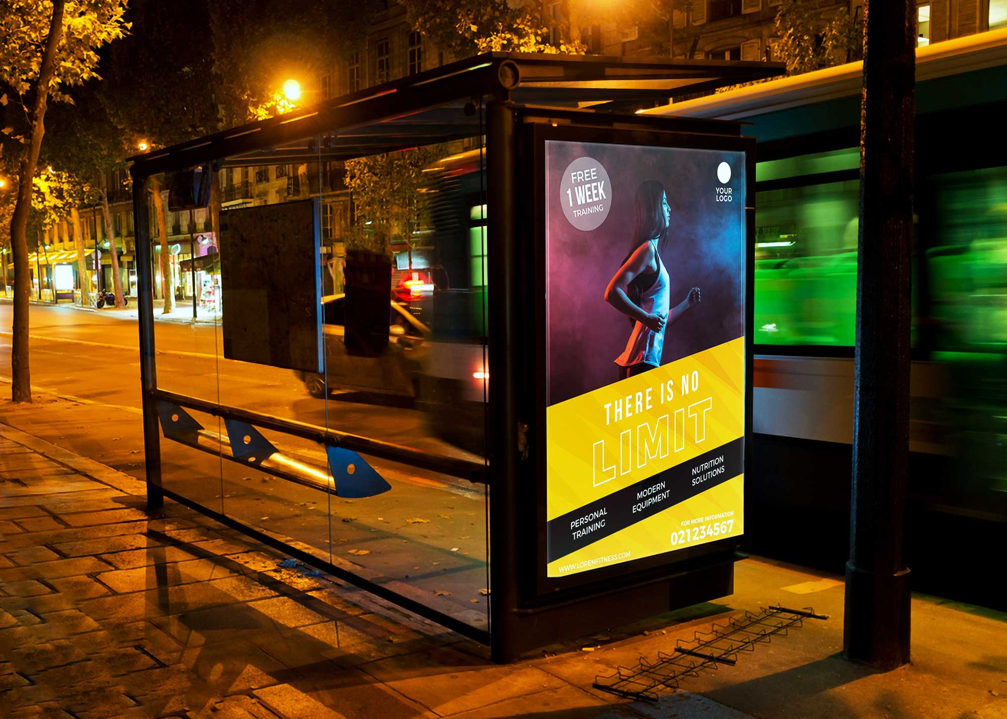 Night Bus Shelter Billboard Free Mockup