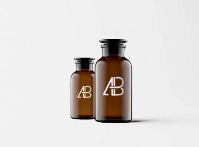 Amber Glass Apothecary Jar Free PSD Mock-ups