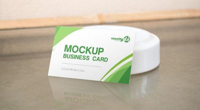 Business Card on the Table Free PSD Mockup