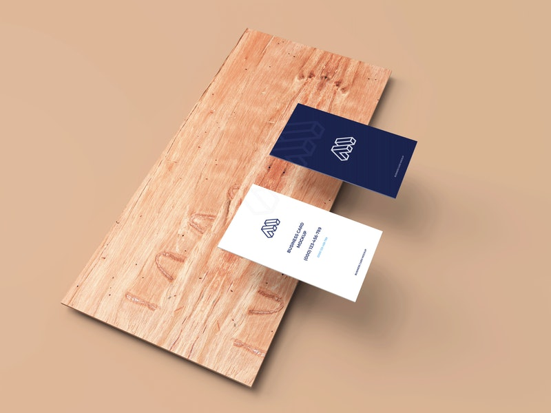 Business Cards Above Plank - Free PSD Mockup
