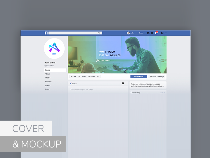 Facebook Cover - Free PSD Mockup Template