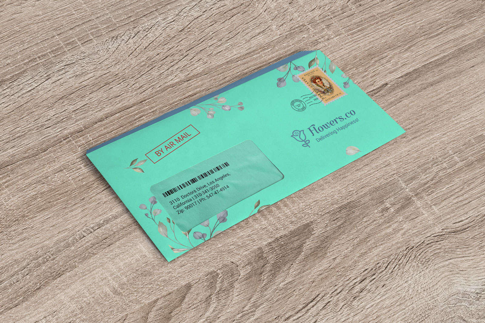 Free 9 x 4 Inches Windowed Envelope Mockup