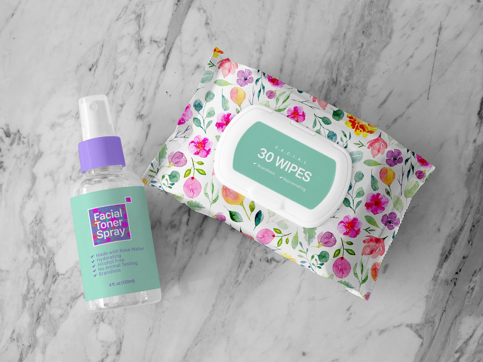 Free Facial Wipes & Toner Spray Bottle Mockup