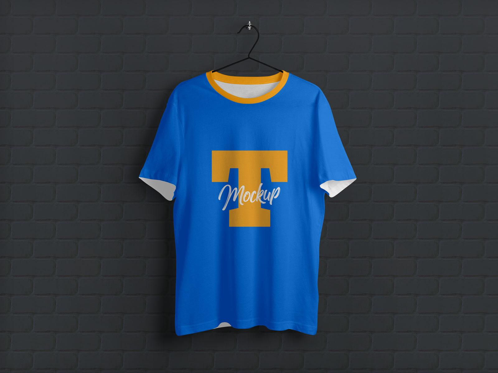 Hanging Half Sleeves Free T-Shirt Mockup