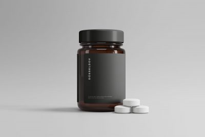 Medicine Bottle & Pills Free Mockup