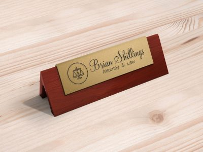 Office Desk Name Plate Free Mockup