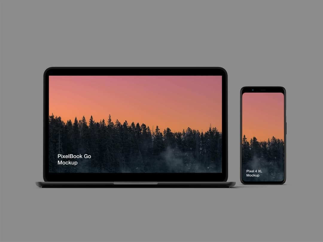 Pixel 4 & PixelBook Go - Free PSD Mockup