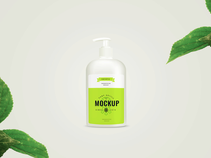 Pump Bottle Free PSD Mockup