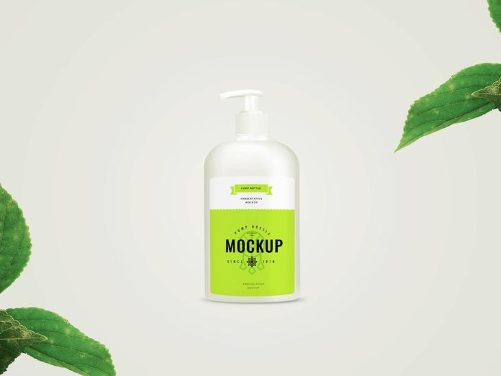 Pump Bottle Free PSD Mockup