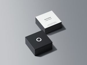 Square Business Card Stacks Free Mockup