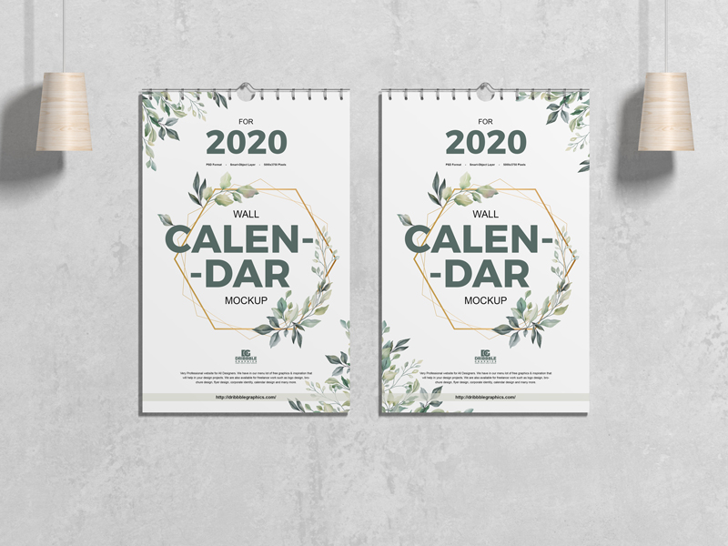 Wall Calendar Free PSD Mockup For 2020