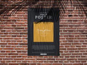 Bricks Wall Poster – Free PSD Mockup