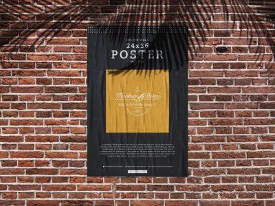 Bricks Wall Poster - Free PSD Mockup