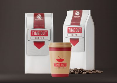 Coffee Bag & Paper Cup Packaging Label - Free PSD Mockups
