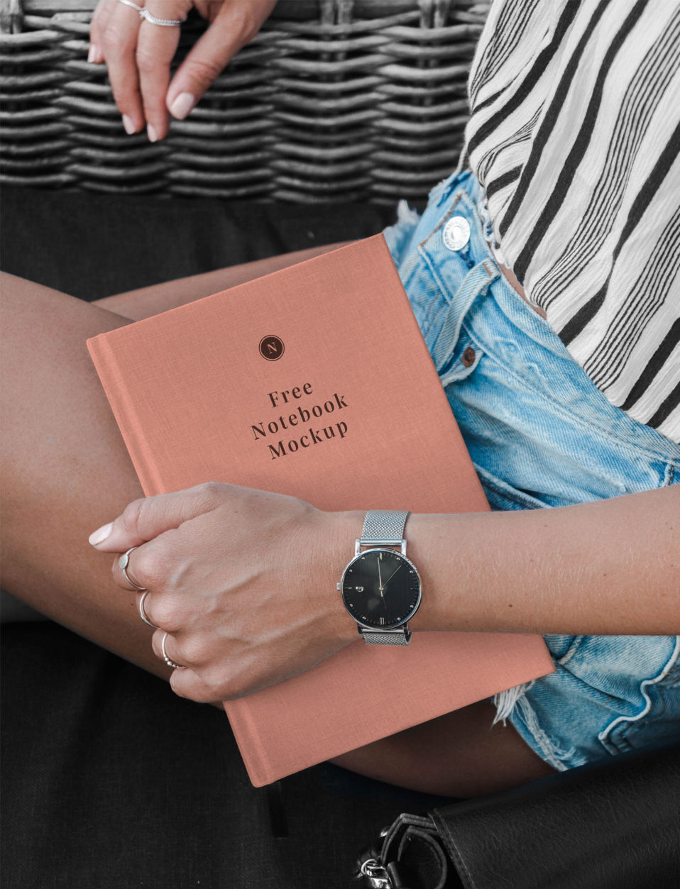 Hand Holding Notebook - Free Mockup