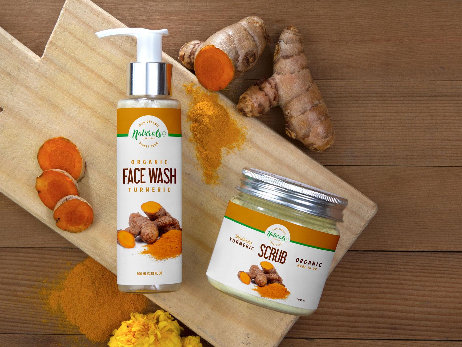 Natural Face Wash Pump Spray & Scrub Jar Free Mock-ups