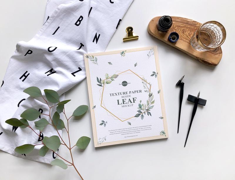 Texture Paper Beside Leaf - Free Mockup