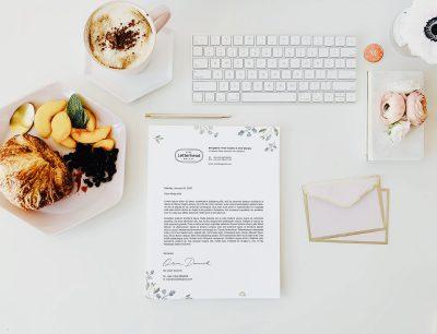 U.S Letter Size Beautiful Letterhead Design & Free Mockup