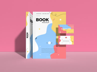 Book & Business Card - Free PSD Mockup