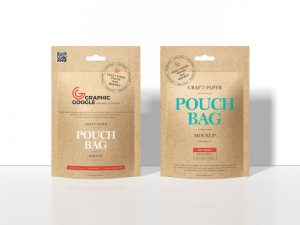Free Craft Paper Pouch Bag Mockup