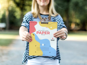 Free Girl Showing Clipped Paper Mockup