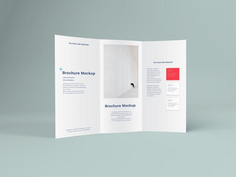 Free Tri-Fold Standing Brochure PSD Mockup