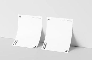 A4 Paper Against Wall- Free PSD Mockup