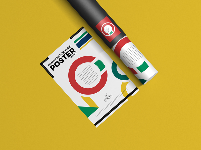 Branding Paper Tube With Poster Free Mock-ups